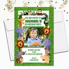 10 Personalised Jungle Animals Birthday Party PHOTO Invitations N57 Girls Boys