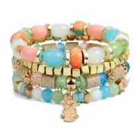 Women Handmade Colorful Beaded Gem Stone Long Wrap Round Bracelet