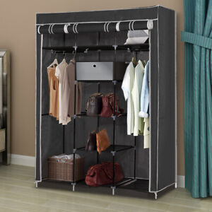 FABRIC LARGE CANVAS WARDROBE HANGING RAIL SHELVING CLOTHES STORAGE CUPBOARD