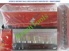 New Snap On 1/4 & 3/8 Drive Metric Ball Hex Socket Driver 8 Pcs Set 208EFTABMY