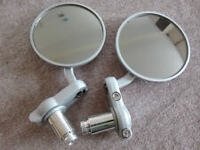 SILVER BAR END MIRRORS (PAIR) SUIT BANDIT, STREETFIGHTER, CAFE RACER, CLUBMAN
