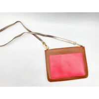 Boden Chancery Clutch Crossbody EUC Brown/Pink Leather