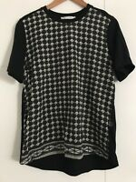 STUSSY Size 10 PRINTED BLACK SHORT SLEEVE TOP
