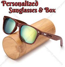 HOT Personalized Engraving Walnut Wood Mirrored UV400 Sunglasses Groomsmen Gift