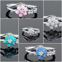 Women Jewelry Flower Fire Opal Crystal 925 Silver Ring Engagement Wedding #5-11