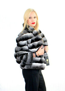 Chinchilla Fur Jacket Coat Vest Women's 100% Natural Furs New Size M/L