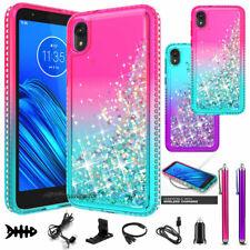 For Motorola Moto E6 Liquid Glitter Quicksand Hard Case Phone Cover Accessory