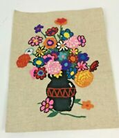 Vintage Crewel Embroidery Canvas Finished Floral Flowers Bright Mid Century