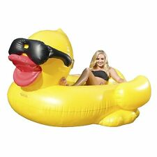 Derby Duck Inflatable Swimming Pool Float w/ Cup Holders Handles Kids Adult Raft