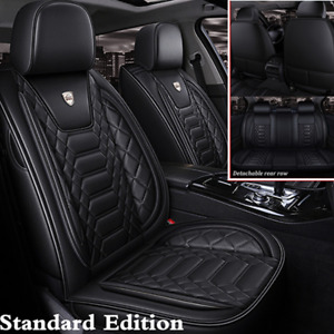 Luxury PU Leather Car Seat Covers Front&Rear For 5-Seats Car SUV Truck Universal