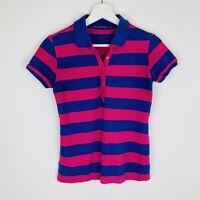 Vintage Women's Ralph Lauren Striped Short Sleeve Polo Shirt Pink Blue Small