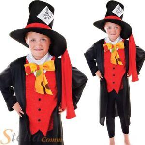 Boys Mad Hatter Costume Alice Wonderland Book Week Child Fancy Dress Outfit