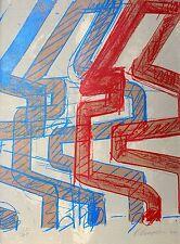 Manolia-Conception en rouge et bleu-farbserigrafie 1977