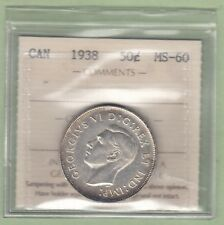 1938 Canadian 50 Cents Silver Coin - ICCS Graded MS-60