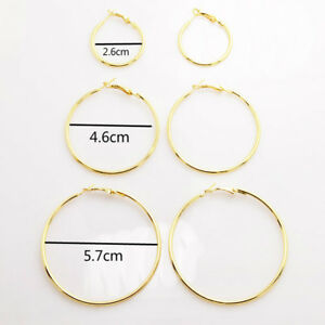 High Quality Silver Gold Large Circle Hoop Earrings Women Fashion Jewelry 1 Pair