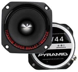 "Pyramid TW44 1"" 600W Heavy Duty Titanium Dome Bullet Car Super Tweeters"