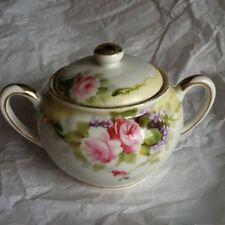 Handpainted Nippon Sugar Bowl w/Lid Gold and Pink Roses Lilacs  Yellow Band