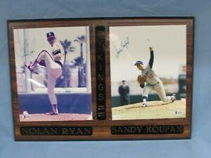 Nolan Ryan & Sandy Koufax Dual Autographed 8x10 Photos in Plaque Beckett COA