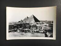 Original Postcard Egypt 1960s RPPC black & white Real Photo Pyramids Nile flood