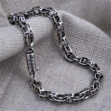6cbb6386f950b 925 Sterling Silver Logo Bracelet Biker Punk Rock Chain Chrome Retro style