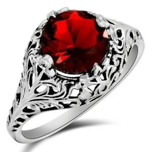 2CT Ruby 925 Solid Sterling Silver Art Deco Style Ring Jewelry Sz 6 WF3