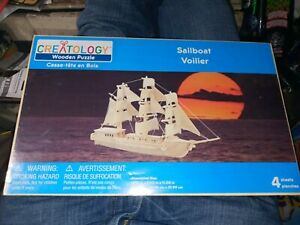 Creatology Sailboat Wooden Puzzle Woodcraft Michael's NEW Boat 3D Wood puzzle