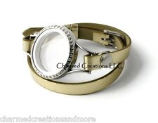 Floating Charm Locket 30mm Stainless Steel CZ Wrap Strap Leatherette Bracelet Gd