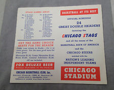 1948/49 CHICAGO STAGS FOX DELUXE BEER POCKET SCHEDULE NEVER FOLDED
