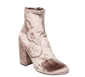 Steve Madden Gaze 6 Mushroom Crush Velvet Beige Brown Taupe Ankle Boots Booties