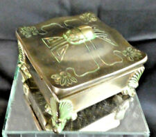 Art Nouveau Benedict Metal Casket Trinket Box with Scarab