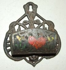 Antique Cast Iron Victorian Kitchen Wall Match Safe Match Holder