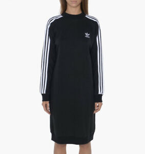 Adidas Black Jumper Boyfriend Oversized Tracksuit Three Strips Dress Uk 12 M