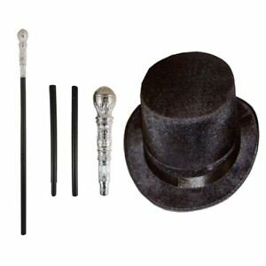 Adults Black Topper Hat and Silver Cane Stick Fancy Dress Book Week Accessory