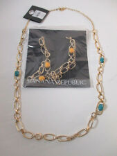 Banana Republic Gold Cabochon  Crystal Layering Necklace NWOT $35 Y B Set of 2