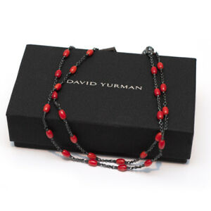 """New DAVID YURMAN 26"""" Spiritual Beads Silver Necklace with Red Dyed Sea Bamboo"""
