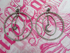 Juicy Couture Earrings Royal Star Moon Crown Pave Hoops NEW $75