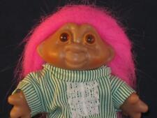 "5"" 1986 DAM JAMMIE GIRL TROLL PINK HAIR GREEN & WHITE STRIPED NIGHTIE! CUTEV612"