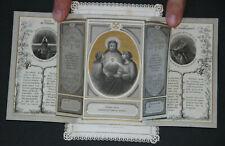 Image pieuse dentelle à volets canivet holy card lace Jésus Sacré Coeur Fin XIX