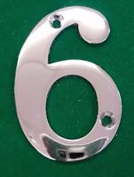 "3"" TOP QUALITY POLISHED CHROME NO:6 HOUSE DOOR NUMBER NUMERALS NUMBERS"