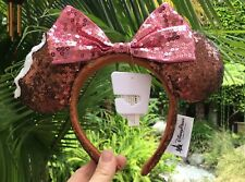 New! Disney Parks Mickey Mouse Ice Cream Bar Sequin Ears Headband with Pink Bow