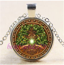 Celtic Tree of life Photo Cabochon Glass Tibet Silver Chain Pendant Necklace#CB6