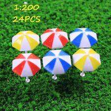 TYS11200 24pcs Model Train Sun Umbrella Parasol 1:200 Z Scale Garden Beach  New