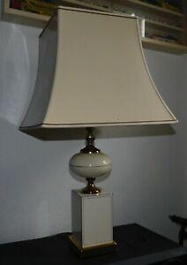 ANCIENNE GRANDE LAMPE DE SALON PHILIPPE BARBIER PIED EN FORMICA ABAT JOUR PAGODE