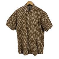 Mens Batik Shirt Size Large Button Up Short Sleeve Bird Pattern Brown Tradition