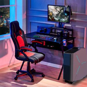Gaming Computer Table w/ Shelf & Cup Holder Laptop Desk Office Workstation Black