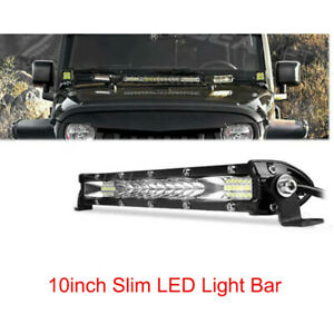 "Super Slim 10""inch LED Work Light Bar Combo Spot Flood 24/12V for Boat ATV Truck"