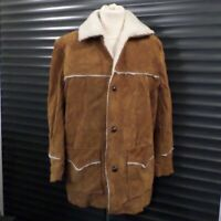 Pioneer Wear Vintage Brown Tan Suede Jacket Sheepskin Lined Borg Men's 42 Large