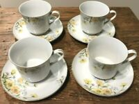NORLEANS ALLEGRO JAPAN VTG 4 FOOTED CUP & SAUCER SETS Yellow Pink Orange EUC