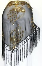 BLACK Tribal Belly Dance Dancing Burlesque Gothic Hip Scarf Shawl Fringe Belt