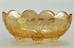 Vintage Amber Iridescent Carnival Glass Scalloped Footed Oval Bowl